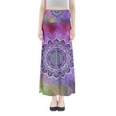Flower Of Life Indian Ornaments Mandala Universe Maxi Skirts
