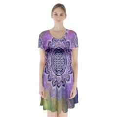 Flower Of Life Indian Ornaments Mandala Universe Short Sleeve V Neck Flare Dress