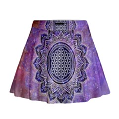 Flower Of Life Indian Ornaments Mandala Universe Mini Flare Skirt