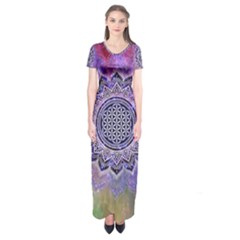 Flower Of Life Indian Ornaments Mandala Universe Short Sleeve Maxi Dress