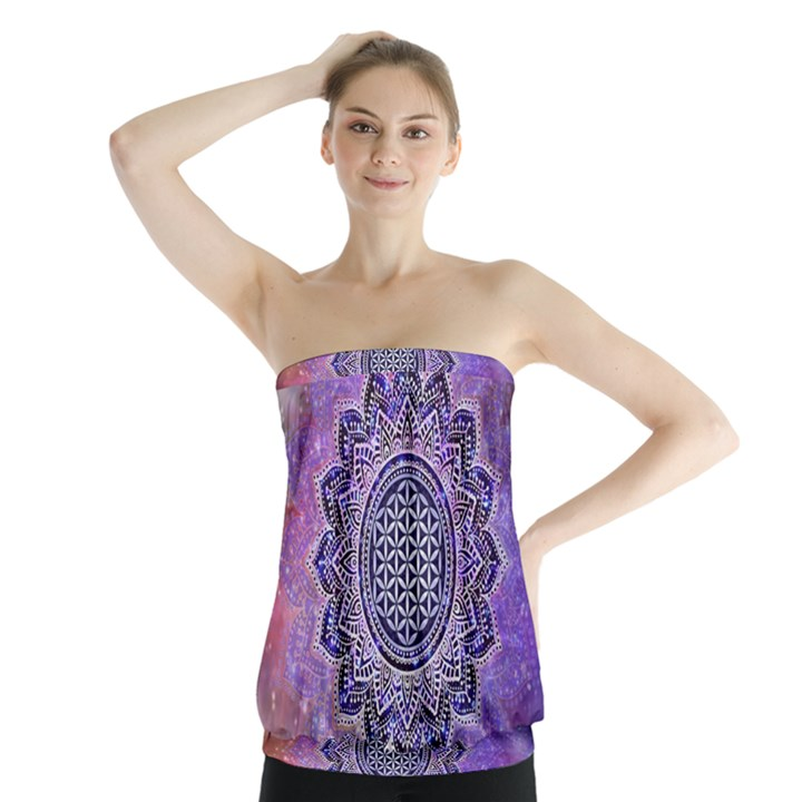 Flower Of Life Indian Ornaments Mandala Universe Strapless Top