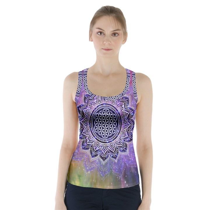 Flower Of Life Indian Ornaments Mandala Universe Racer Back Sports Top