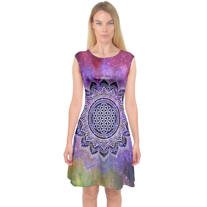 Flower Of Life Indian Ornaments Mandala Universe Capsleeve Midi Dress