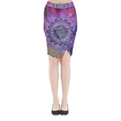 Flower Of Life Indian Ornaments Mandala Universe Midi Wrap Pencil Skirt