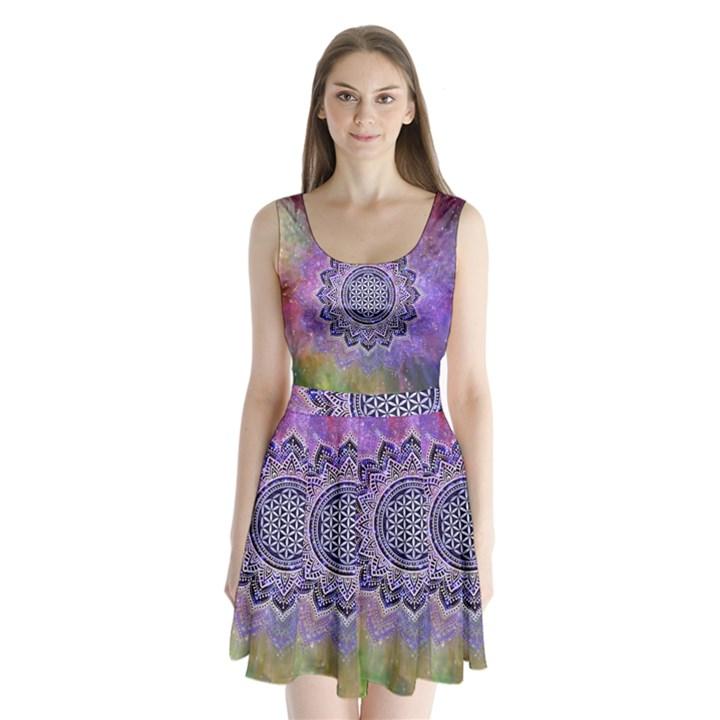 Flower Of Life Indian Ornaments Mandala Universe Split Back Mini Dress