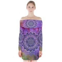 Flower Of Life Indian Ornaments Mandala Universe Long Sleeve Off Shoulder Dress