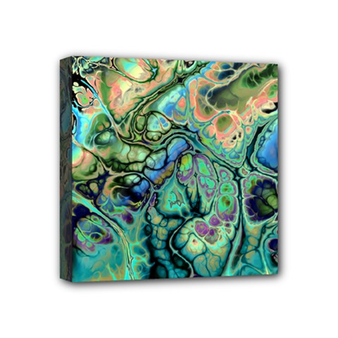 Fractal Batik Art Teal Turquoise Salmon Mini Canvas 4  X 4  by EDDArt