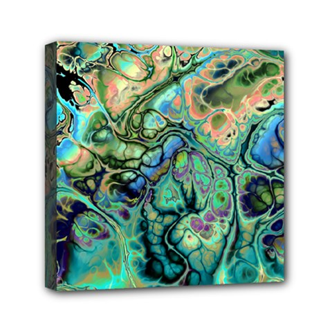 Fractal Batik Art Teal Turquoise Salmon Mini Canvas 6  X 6  by EDDArt