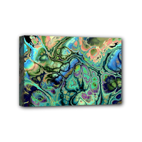 Fractal Batik Art Teal Turquoise Salmon Mini Canvas 6  X 4  by EDDArt
