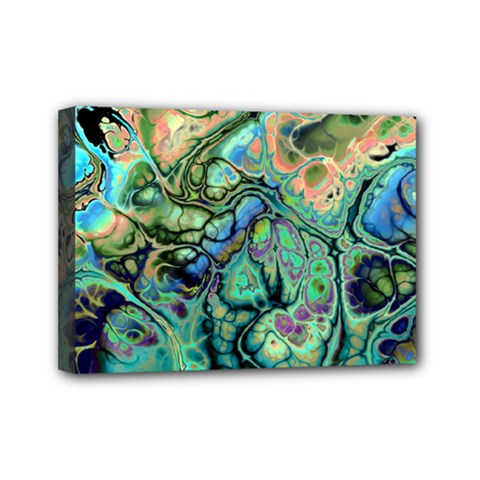 Fractal Batik Art Teal Turquoise Salmon Mini Canvas 7  X 5