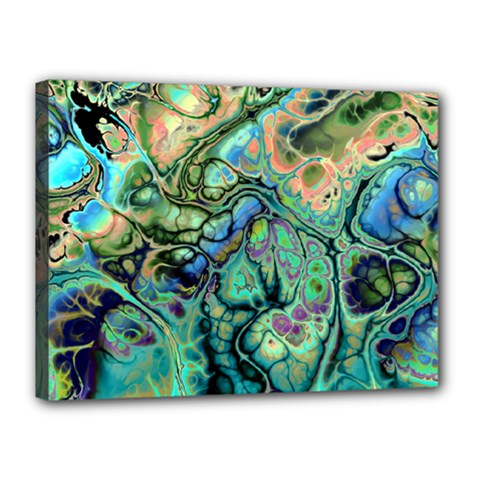 Fractal Batik Art Teal Turquoise Salmon Canvas 16  X 12  by EDDArt