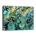 Fractal Batik Art Teal Turquoise Salmon Canvas 16  x 12  View1