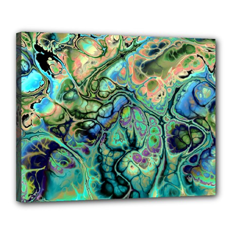 Fractal Batik Art Teal Turquoise Salmon Canvas 20  X 16  by EDDArt
