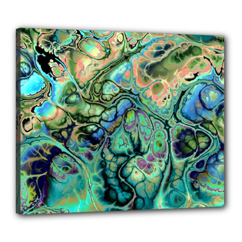 Fractal Batik Art Teal Turquoise Salmon Canvas 24  X 20  by EDDArt