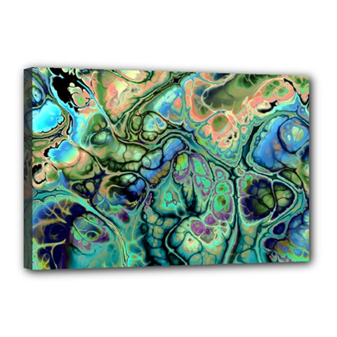 Fractal Batik Art Teal Turquoise Salmon Canvas 18  X 12  by EDDArt