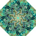 Fractal Batik Art Teal Turquoise Salmon Folding Umbrellas View1