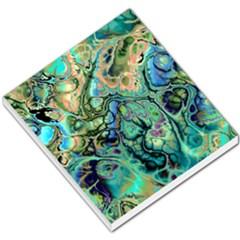 Fractal Batik Art Teal Turquoise Salmon Small Memo Pads