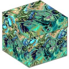 Fractal Batik Art Teal Turquoise Salmon Storage Stool 12