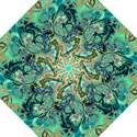 Fractal Batik Art Teal Turquoise Salmon Golf Umbrellas View1