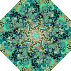 Fractal Batik Art Teal Turquoise Salmon Hook Handle Umbrellas (large) by EDDArt