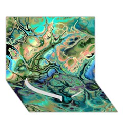 Fractal Batik Art Teal Turquoise Salmon Heart Bottom 3d Greeting Card (7x5)
