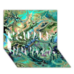Fractal Batik Art Teal Turquoise Salmon You Are Invited 3d Greeting Card (7x5)