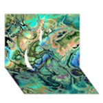 Fractal Batik Art Teal Turquoise Salmon Apple 3D Greeting Card (7x5)