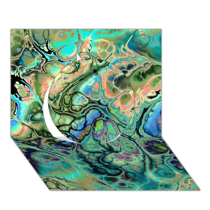 Fractal Batik Art Teal Turquoise Salmon Circle 3D Greeting Card (7x5)