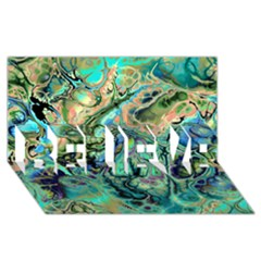 Fractal Batik Art Teal Turquoise Salmon Believe 3d Greeting Card (8x4)