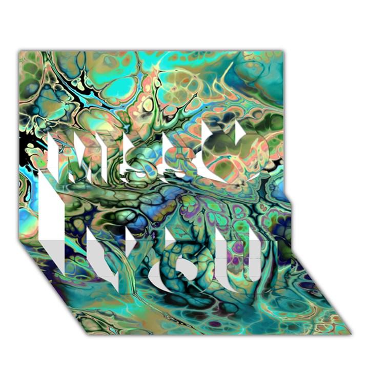 Fractal Batik Art Teal Turquoise Salmon Miss You 3D Greeting Card (7x5)