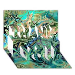 Fractal Batik Art Teal Turquoise Salmon Thank You 3d Greeting Card (7x5) by EDDArt