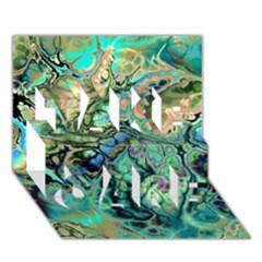 Fractal Batik Art Teal Turquoise Salmon Take Care 3d Greeting Card (7x5)