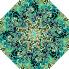 Fractal Batik Art Teal Turquoise Salmon Hook Handle Umbrellas (small)