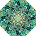 Fractal Batik Art Teal Turquoise Salmon Hook Handle Umbrellas (Small) View1