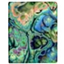 Fractal Batik Art Teal Turquoise Salmon Apple iPad 2 Flip Case View1