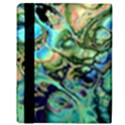 Fractal Batik Art Teal Turquoise Salmon Apple iPad 2 Flip Case View3