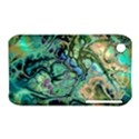 Fractal Batik Art Teal Turquoise Salmon Apple iPhone 3G/3GS Hardshell Case (PC+Silicone) View1