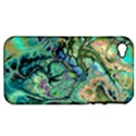 Fractal Batik Art Teal Turquoise Salmon Apple iPhone 4/4S Hardshell Case (PC+Silicone) View1