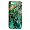 Fractal Batik Art Teal Turquoise Salmon Apple iPhone 4/4S Hardshell Case (PC+Silicone) View2