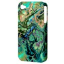 Fractal Batik Art Teal Turquoise Salmon Apple iPhone 4/4S Hardshell Case (PC+Silicone) View3