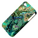 Fractal Batik Art Teal Turquoise Salmon Apple iPhone 4/4S Hardshell Case (PC+Silicone) View4