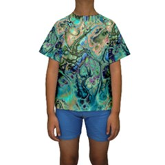 Fractal Batik Art Teal Turquoise Salmon Kids  Short Sleeve Swimwear by EDDArt
