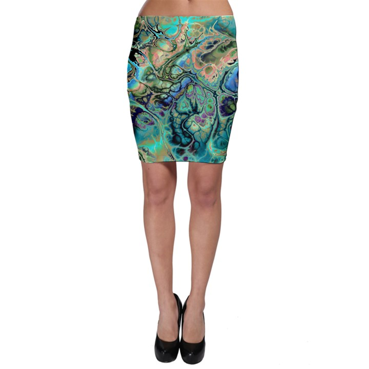 Fractal Batik Art Teal Turquoise Salmon Bodycon Skirt