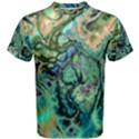 Fractal Batik Art Teal Turquoise Salmon Men s Cotton Tee View1