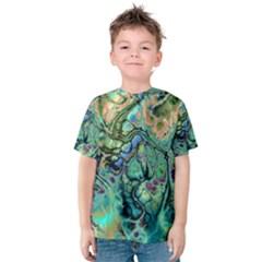 Fractal Batik Art Teal Turquoise Salmon Kids  Cotton Tee