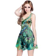 Fractal Batik Art Teal Turquoise Salmon Reversible Sleeveless Dress