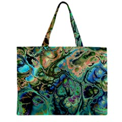 Fractal Batik Art Teal Turquoise Salmon Mini Tote Bag by EDDArt