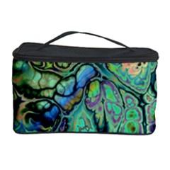 Fractal Batik Art Teal Turquoise Salmon Cosmetic Storage Case by EDDArt