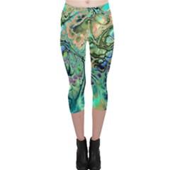 Fractal Batik Art Teal Turquoise Salmon Capri Leggings
