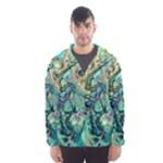 Fractal Batik Art Teal Turquoise Salmon Hooded Wind Breaker (Men)